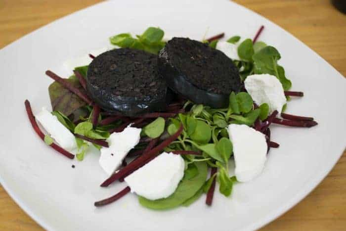 Black Pudding and Goats Cheese Salad