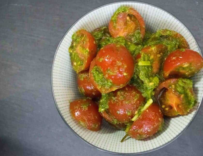 Pesto Tomato Salad - Coriander Pesto Recipe