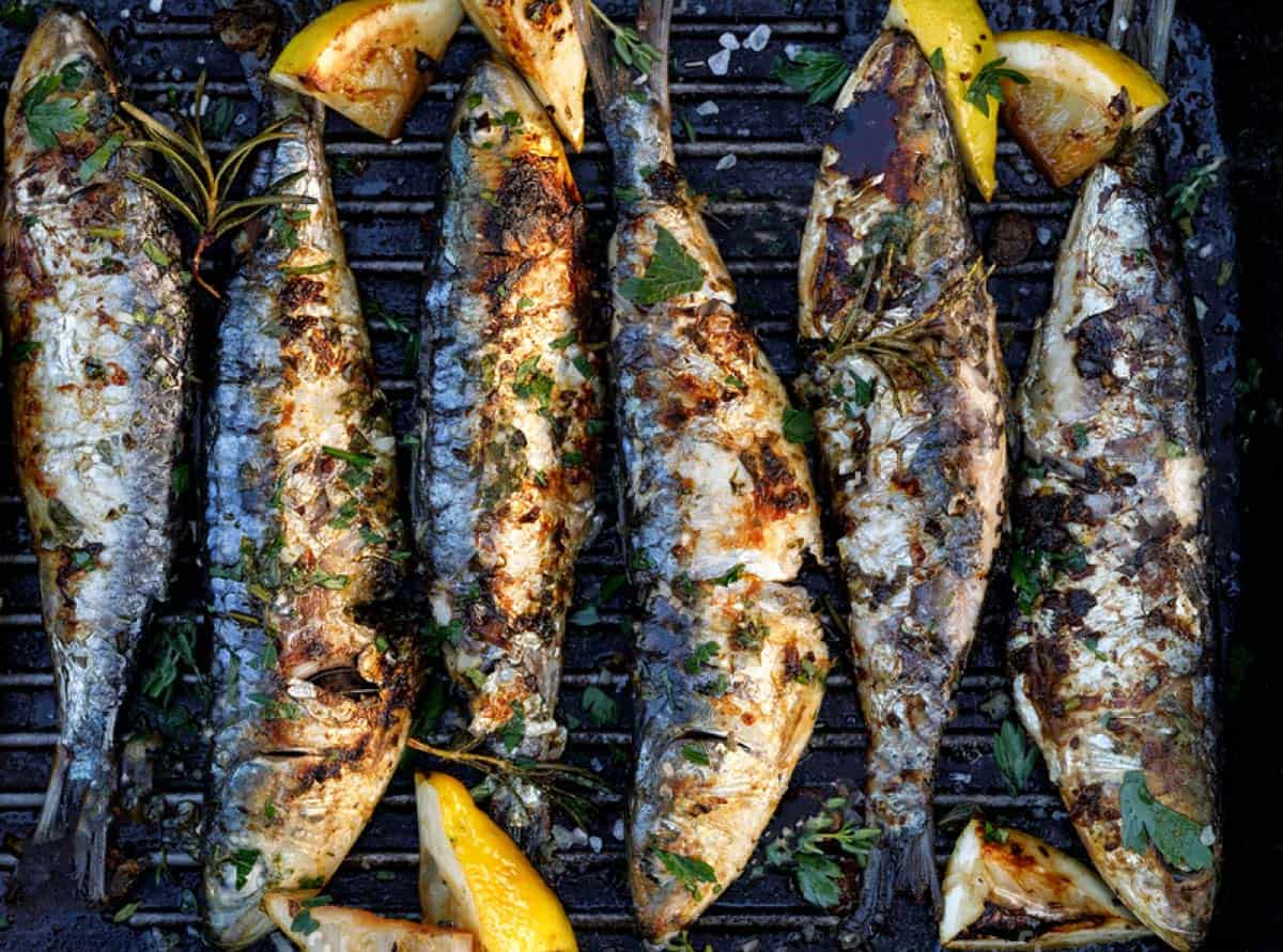 chargrilled sardines with parsley and capers